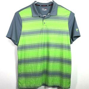 Fila Sport Mens Golf Polo Shirt Green Gray Stripe